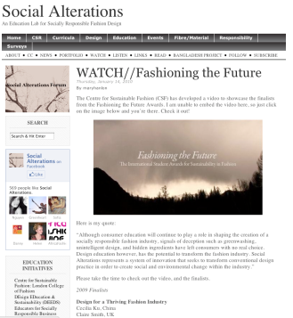 Social Alterations, Fashioning the Future, 2009