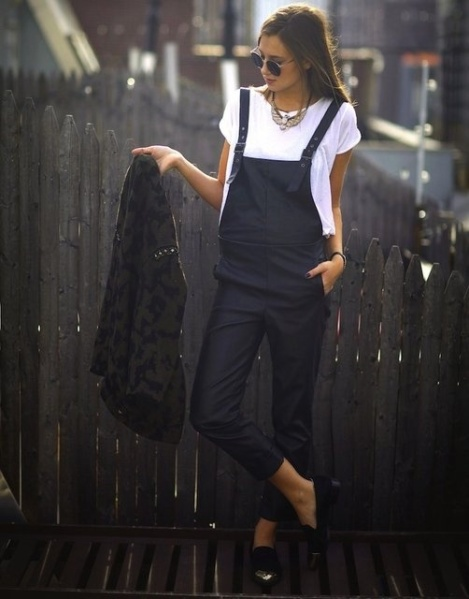 leather dungarees black