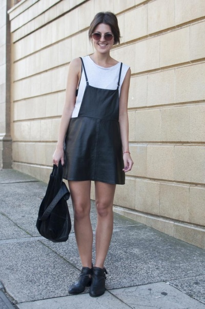leather pinafore skirt